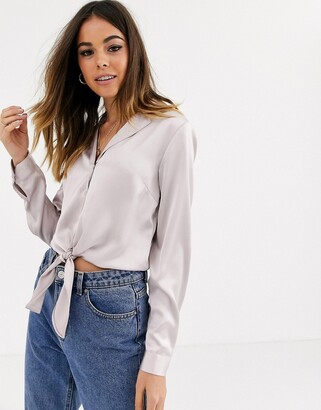 Miss Selfridge satin shirt with tie front in light pink