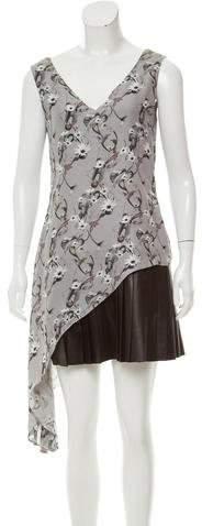 Cushnie et Ochs Leather-Accented Silk Dress
