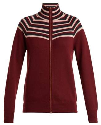 Gabriela Hearst Delia Striped Cashmere Blend Cardigan - Womens - Burgundy Multi