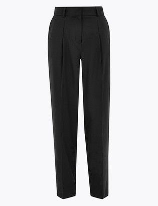 Marks and Spencer Wool Silk Blend Slim Fit Tapered Trousers