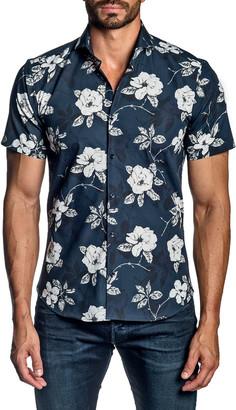 Jared Lang Men's Rose Floral-Print Short-Sleeve Sport Shirt