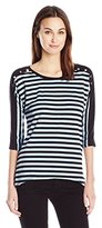 Notations Women's 3/4 Sleeve Scoop Neck Hi Low Stripe Top with Buttons
