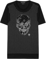 Alexander Mcqueen Black Skull-embroidered Cotton T-shirt