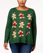 Karen Scott Plus Size Holiday Gingerbread Sweater, Created for Macy's
