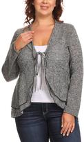 Canari Stone Melange Tie-Front Cardigan - Plus
