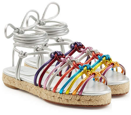 Chloé Metallic Leather Braided Sandals
