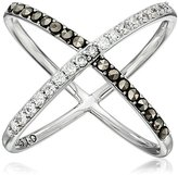 "Judith Jack Classics"" Sterling Silver/Swarovski Crystal and Marcasite X Ring, Size 7"