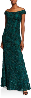 Jovani Off-the-Shoulder 3D Embellished A-Line Gown