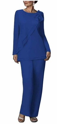 Botong Two Pieces Chiffon Pants Suits for Mother of The Bride Plus Size Women's Outfit Wedding Evening Gowns Royal Blue UK16