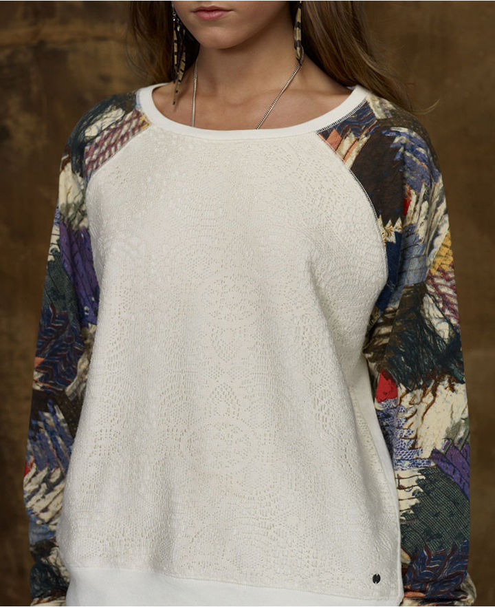 Denim & Supply Ralph Lauren Sweater, Long-Sleeve Patchwork Raglan Sweatshirt