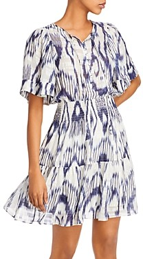Rebecca Taylor Printed Smocked-Waist Dress