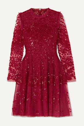 Needle & Thread Aurora Ruffled Sequined Tulle Mini Dress - Red