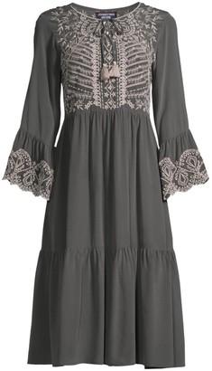 Johnny Was Luana Embroidered Flounce Midi Dress