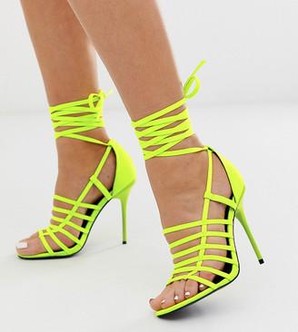 Asos Design DESIGN Wide Fit Half Way strappy stiletto heeled sandals-Yellow