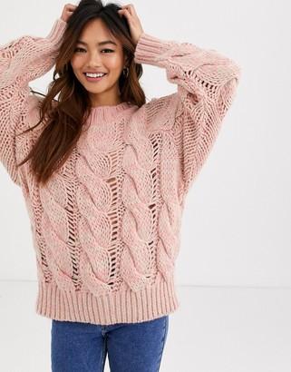 Asos Design DESIGN lofty knit cable jumper-Pink
