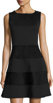Neiman Marcus Fit-and-Flare Faux-Suede Paneled Dress, Black