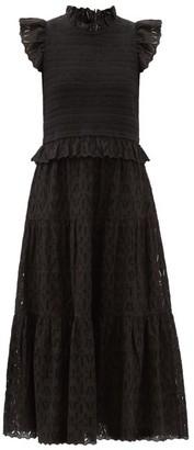 Sea Ingrid Shirred Broderie-anglaise Cotton Midi Dress - Black