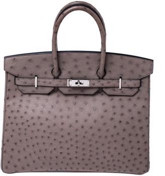 Hermes Mousse Ostrich Leather Palladium Hardware Birkin 35 Bag