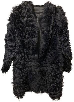 Karl Donoghue Navy Mongolian Lamb Coat for Women