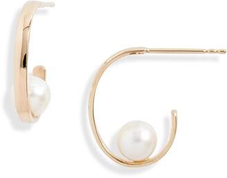 Poppy Finch Cultured Pearl Hoop Earrings
