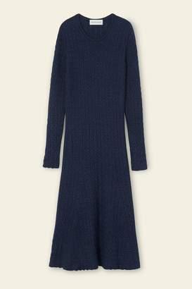 Mansur Gavriel Alpaca Silk Cable Knit Dress - Blu
