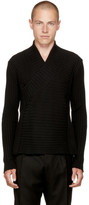 Balmain Black Crossover Shawlneck Sweater