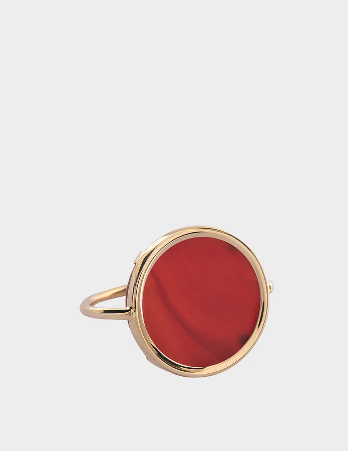 ginette_ny Black Onyx 18-karat rose gold Disc ring