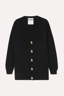 Moschino Button-embellished Wool Cardigan - Black
