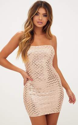 PrettyLittleThing Rose Gold Strappy Sequin Straight Neck Bodycon Dress