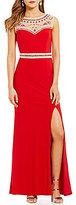 B. Darlin High Neck Tonal Beaded Illusion Inset Long Dress