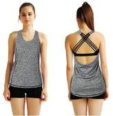 HILEELANG Women's Soft Lightweight Backless Halter Workout Yoga Vest Tank Top Tee Shirt