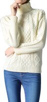 Viottis Women's Cable Knit Turtleneck Long Sleeve Pullover Sweater Navy M