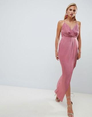 Asos Design DESIGN satin cami strappy back maxi dress-Purple