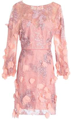 Marchesa Velvet-trimmed Embellished Tulle Mini Dress