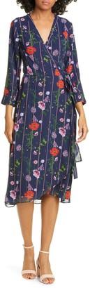 Ted Baker Hedgerow Floral Stripe Long Sleeve Wrap Dress