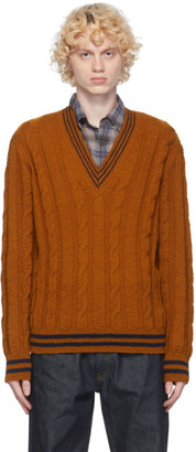 Dries Van Noten Tan V-Neck Sweater