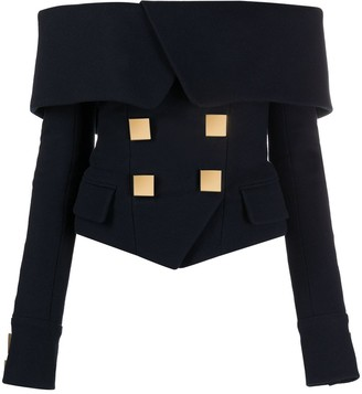 Balmain Off-Shoulder Blazer-Style Top