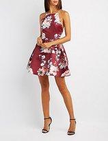 Charlotte Russe Floral Bib Neck Skater Dress
