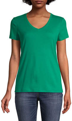 ST. JOHN'S BAY Womens V Neck Short Sleeve T-Shirt