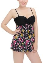 Perfashion Women's Plus Size Two Piece Swimdress Skirted Swimsuit Bathing Suits 3XL