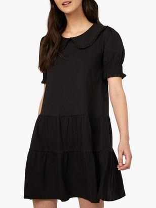 Warehouse Collared Tiered Mini Dress, Black