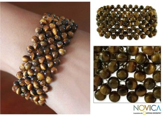 Novica Handmade Tiger's Eye 'Mystical Muse' Stretch Bracelet