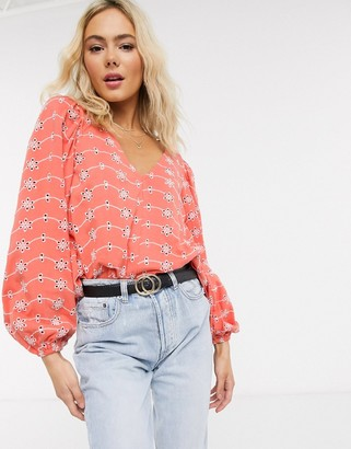 ASOS DESIGN swing top with v neck in contrast broidery with puff sleeve