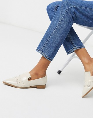 ASOS DESIGN Manor studded fringed loafers in bone