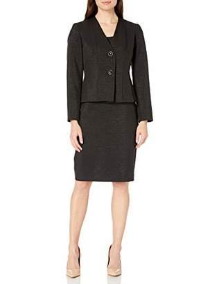 Le Suit Women's 2 Button Shiny Novelty Skirt Suit
