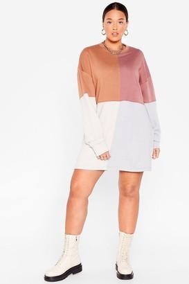 Nasty Gal Womens Colorblock the Night Away Plus Sweatshirt Dress - Brown