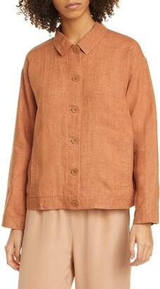 Eileen Fisher Classic Collar Organic Linen Jacket
