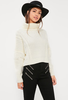 Missguided Cream Turtle Neck Fringe Sleeve Cable Sweater