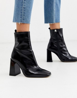 Office Altogether square toe leather heel boot-Black