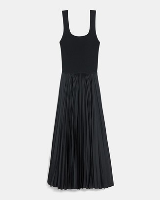 Theory Pleated Square Neck Dress in Crepe